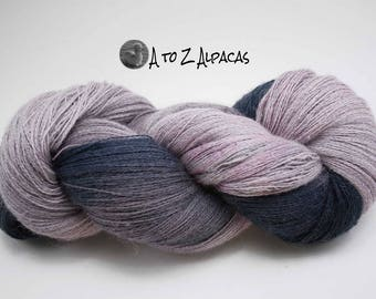 Hand Dyed Pure Alpaca Yarn Lace Weight 1675 yards Purple Fushion