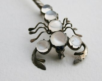 Vintage Sterling Silver and Moonstone Scorpion Brooch Sapphire Eyes Figural Pin