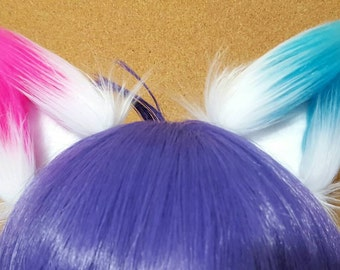 White with Hot Pink and Turquoise Tips Mismatched Harley Quinn Clip on Fox Ears