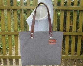March Sale 10% off Gray tote bag, personalized canvas shoulder bag, leather strap diaper bag, women's bag, unique travel bag