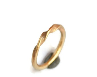 A Simple Twist 18k Gold Ring or Wedding Band - Forged, Twisted 18k yellow gold matching set his and hers unique