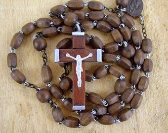 Rosary French Wooden wood brown vintage Lourdes Bernadette crucifix pocket catholic prayer Our Lady