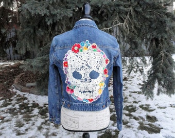 Cream Skull with Mexican Embroidered Flowers Altered Couture Jean Jacket Boho Rocker Sz S - M