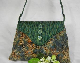 Quilted Cotton Shoulder Purse, Medium Batik Greens and Peach