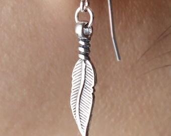 Leaf Earrings in Sterling Silver, Dangle & Drop Earrings, Simple Everyday Earrings, Mom Sister gift