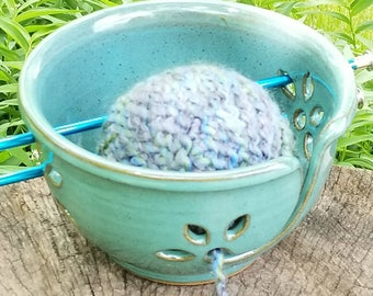 Knitting Bowl, (FREE Pottery Gift Included with Order) Handmade Turquoise Ceramic Yarn Bowl, Crochet Bowl