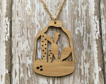 Bamboo terrarium necklace