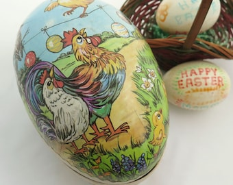 Vintage Easter Egg Container Paper Mache Rooster Hen Chick and Ducks Made In German Democratic Republic Mid Century Candy Gift Box