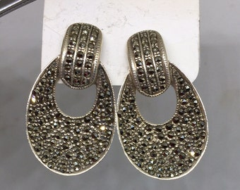 VTG Deco Style Sterling Marcasite Dangles Unsigned