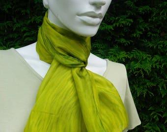 silk scarf hand dyed silk scarf shibori dyed scarf green yellow scarf arashi dyed scarf OOAK