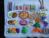 Lot of 24 toy foods and pantry items. For Doll House. Cake Toppers. Jewelry.