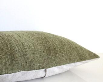 Velvet pillow: green velvet textured pillow in olive green and natural linen, velvet cushion cover, mid century modern pillow