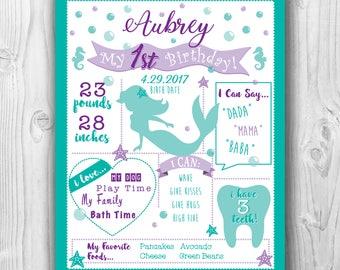 First Birthday Milestone Sign/Mermaid Theme/1st Birthday Girl Decor/Poster/Chalkboard Sign/Green and Purple Mermaid Theme