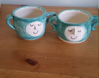 Pottery handmade his and hers  face pair of   planters in  turquoise, azure, teal  catch all  boho perfect for  succulents great  gift