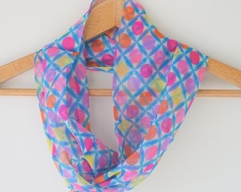 Vintage SILK Cowl Infinity Scarf..geometric. atomic. flower scarf. 70s accessories. retro. mod. twiggy. paint. colorful. bright. groovy. NOS