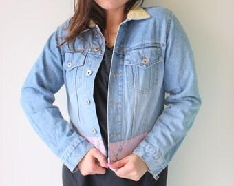 1990s EXPRESS Jean Jacket...size medium womens..tricot. biker chic. blue jean jacket. killer. rad. 80s glam. hippie. urban. 90s. novelty