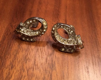 Art Deco Crystal Screwback Bridal Earrings
