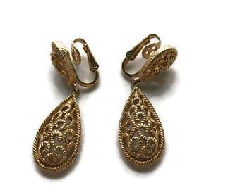 TRIFARI Teardrop Dangle Gold Tone Earrings