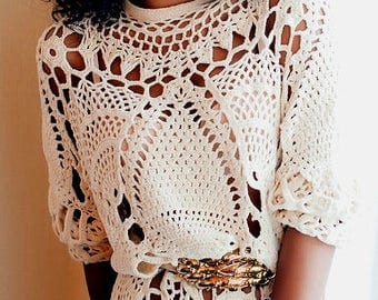 Crocheted Boho Fringed Tunic - Made to Order
