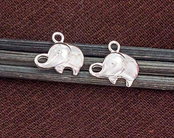 2 of 925 Sterling Silver Elephant Charms 8x12 mm. :th2589
