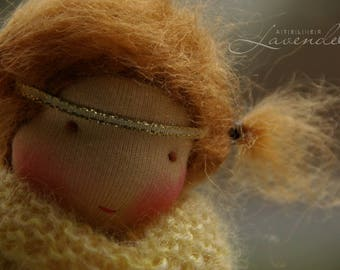 Hope Angel Doll, Waldorf Inspired Doll by Atelier Lavendel, Pocket Doll, Cuddle Doll, 7in OOAK doll, soft toy, ECO friendly