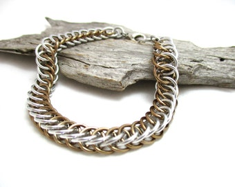 Silver & Champagne Half Persian 4:1 Chainmaille Bracelet