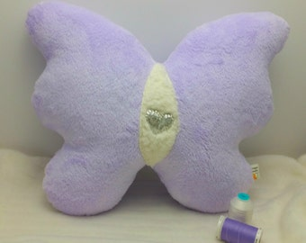Lavender White and Silver Heart Plush Butterfly Pillow