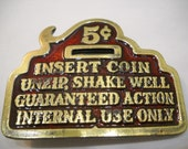 Vintage Insert Coin Brass And Enamel Belt Buckle