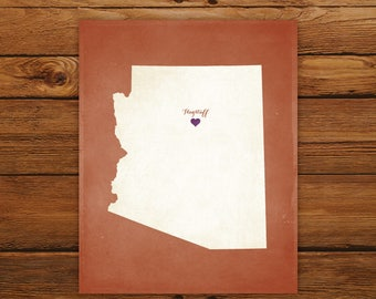 Customized Arizona State Art Print, State Map, Heart, Silhouette, Aged-Look Personalized Print