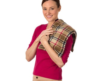 London Plaid Lavender ExtraLarge Body Microwave Heating Pad (10x24), Lower Back Heat Wrap Hot Cold Pack, Washable Fleece Cover, Rice