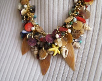 Craggy Shores Beaded Sea Shell Necklace with Little Starfishes