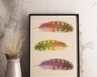 Feathers print -  Watercolor feathers print - Feather wall art - Bohemian wall art - Feather printable art - Tribal wall art - Printable art
