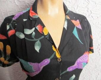 Vintage 70's Tropical Glam Cali Rayon Print Shirt Top