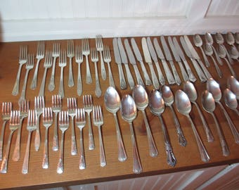 84 Pieces Mismatched Silverplate Flatware, 12 5-Piece Place Settings, Plus 24 Assorted Serving & Other, Wedding, Shabby Chic, Farmhouse