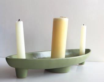 MCM FLORALINE McCoy CANDLEHOLDER Centerpiece  // Light Green // Holds Candles