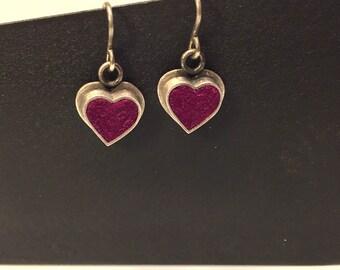 Oxidized Sterling Heart Earrings in Raspberry Felt