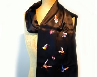 Black silk satin scarf with embroidered butterflies