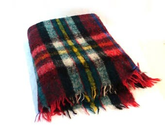Vintage 1970s Italian wool Royal Plaid combed wool red green blue tartan plaid picnic rug travel blanket