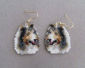 Beaded Collie Earrings