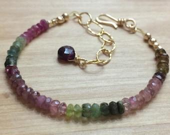 Tourmaline Bracelet, Watermelon Tourmaline, Multi Color Tourmaline Bracelet, Ombre Gemstone Bracelet, Simple Bracelet, Delicate stone