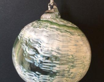 Dark Green and White Optic Hand Blown Glass Ornament
