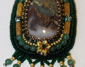 Agate Necklace,Green Necklace,Aventurine Necklace,Jewelry,Necklace,Bead Embroidery Necklace,Beaded Necklace,Amy Johnson Designs,NX1519