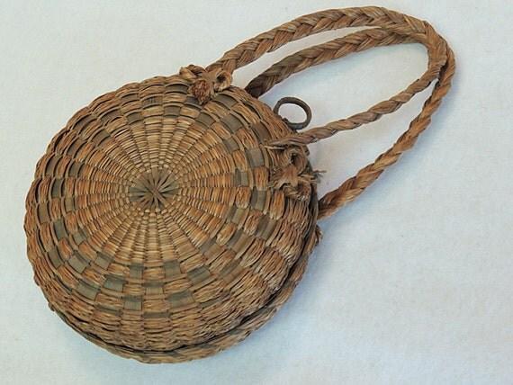 Vintage Native American Penobscot Round Carrier / Tote Basket