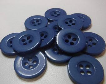 "13 Cobalt Blue Flat Rim Round Buttons Size 5/8"""