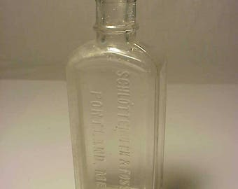 c1890s Schlotterbeck & Foss Co. Portland, Maine, Cork Top Blown Clear Glass Medicine bottle