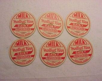 Set of Six c1940-50s Hurlburt Farm Dairy Somers, Conn., Connecticut Milk Bottle Caps