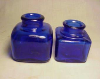 Set of Two c1910-20 Cobalt Blue Cork Top Square Inkwells Ink Bottles No. 5