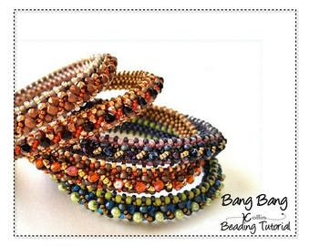 CRAW Bangle Seed Bead Pattern Beadweaving Instructions Narrow Beaded Bangle Ethnic Skinny Tribal Bangle Handmade Jewelry Tutorial BANG BANG