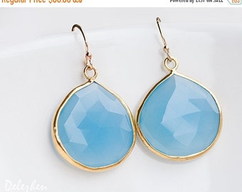 40 OFF - Blue Chalcedony Earrings - Bezel set earrings - Gemstone earrings - gold earrings - something blue - Drop Earrings
