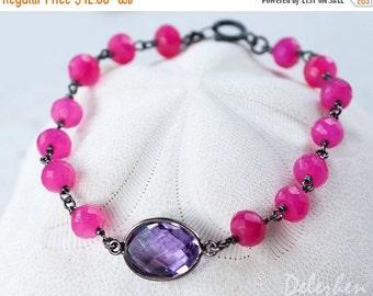 40 OFF - Purple Amethyst Bracelet - Fuchsia Pink Chalcedony Bracelet - Druzy Bracelet - Hot Pink Bracelet  - Wire wrapped Bracelet